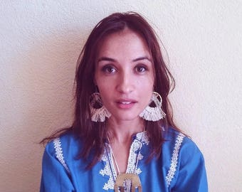 Handmade Textile Fringe Earrings (Matte Gold and Ivory Waxed Linen Hoops) FREE SHIP in US
