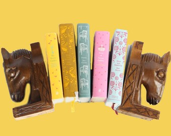 Vintage Carved Horse Head Bookends