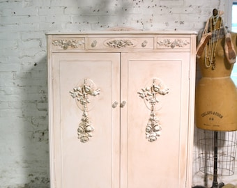 Armoire Painted Cottage Chic Shabby French Romantic Armoire AM258