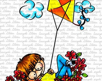 Kite Boy by Sasayaki Glitter Digital Stamps. Black and White Only