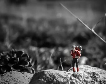 DIGITAL DOWNLOAD,miniature people,trekking,adventure,digital art,photography,traveler,nature,instant prints,collectible art,black white,art