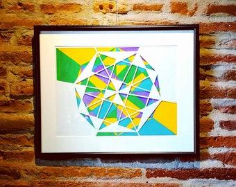 KALEIDOSCOPE (abstract art) acrylic painting & papercut/collage