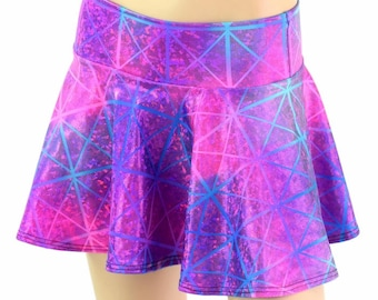 Northern Lights Cracked Tile Metallic Holographic Circle Cut Mini Skirt Rave Clubwear EDM 154569