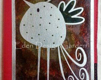 A little bird told me...ereader-tablet etched metal and red nylon cover