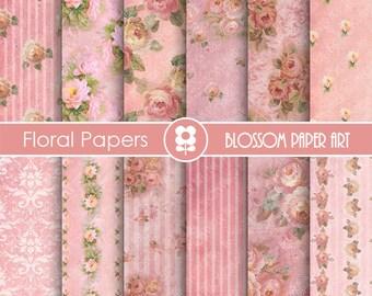Rose Digital Paper Pink Floral Digital Papers, Pink Scrapbook Papers, Floral Digital Paper, Wedding Papers - 1722