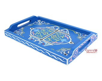 Moroccan Serving Tray Wood Handmade Hand painted Blue Limited Edition (Ref. SWT3)