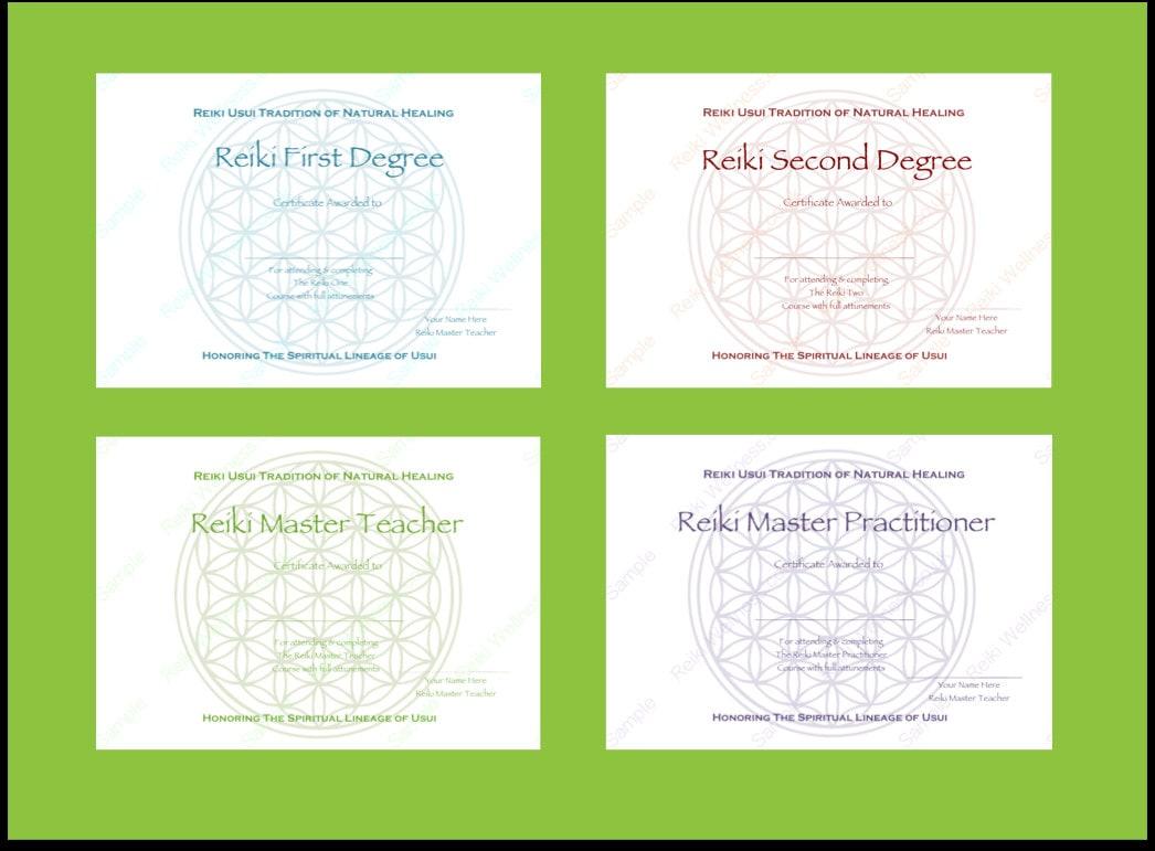 Reiki Zertifikate Vorlagen X4-Blume des Lebens Komplettset