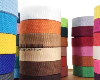 "10 Yards 25mm(1"") Cotton Canvas Strap Webbing 41 Colors DIY Handbag Tote Bag Messengers Travel Bag Key Chain FOB Pet Collar Leash Supplies"