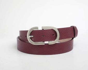 Leather Belt, Burgundy Leather Belt, Burgundy Womens Belt, Womens Belt