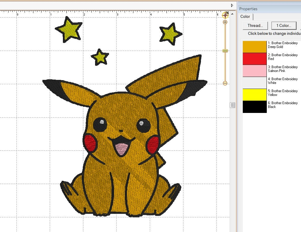 Pokemon Pikachu Stars Full Embroidery Digital Design Embroidery