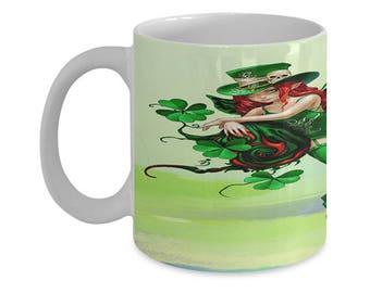 St. Patrick's Pixie Girl, Irish Coffee Mug