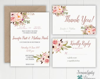 Rustic Floral Wedding Invitation Printable