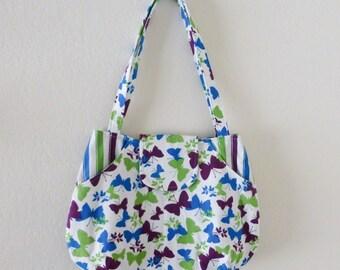 Yoga tote bag, butterfly handbag, market tote bag, beach bag, striped print, summer purse, cute bag, ready to ship, handmade, gift idea