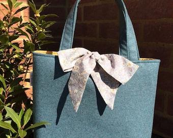 Teal and mustard wool tote handbag
