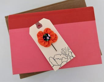 Bobby Pin with Orange Fabric Flower and Covered Button Center