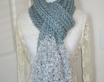 Chunky Knit Scarf, Hand Knit Scarf, Ribbed Scarf, Blue Scarf, Boucle Scarf, Ribbed Knit Scarf, Chunky Ribbed Scarf, Gifts for Her
