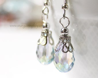 Crystal Drop Earrings w filigree cap. Made on hypoallergenic Surgical steel hooks.