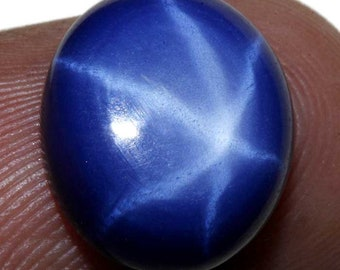 8.20Ct Amazing Natural 6 Rays/Buds Blue Star Sapphire Oval Ring Size Cabochon