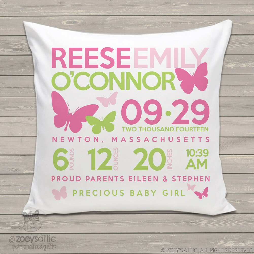 Birth announcement pillow new baby gift butterfly custom throw zoom negle Choice Image