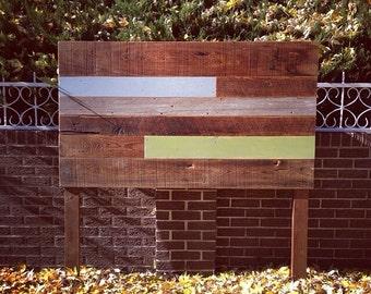Reclaimed Wood Headboard Brown, Blue, and Green (Barnwood)