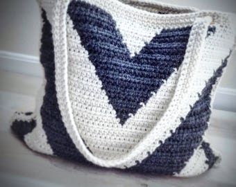 Crochet Pattern, Crochet Chevron Bag Pattern, Crochet Bag Pattern, Crochet, Crochet Pattern, Crochet Tote Pattern, Crochet  Winter Bag