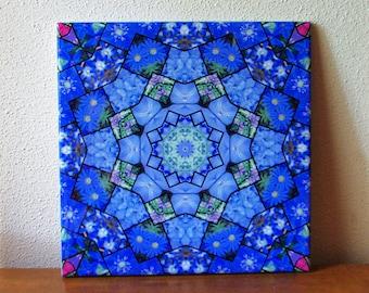Garden mosaic mandala ceramic tile, blue tones, floral trivet, garden flowers photo kaleidoscope, mother's day gift, decorative tile 1754
