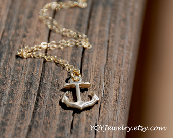 Small Gold Anchor Necklace, 14K Gold Filled Chain, Summer, Beach,  Graduation Gift, Birthday gift