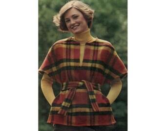 70s uncut Poncho pattern Tunic pattern Belted Poncho pattern 36-28-38 Butterick 3362