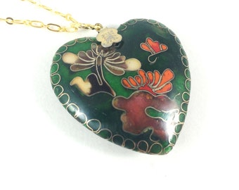 Large Heart Necklace, Heart Pendant Necklace, Cloisonné Necklace, Enamel Jewelry, Cloisonné Jewelry, Vintage Jewelry Unique Valentines Gifts