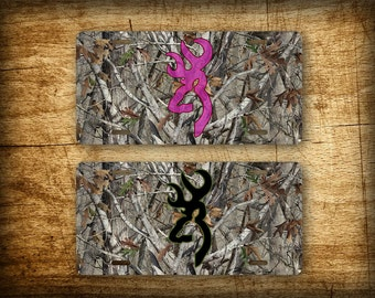 Camo Deer Head License Plate Hunting Buck Doe Browning Hunter Silhouette Camouflage Auto Tag 6x12 Aluminum