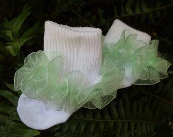 Mint Green Organza Ruffled White Socks