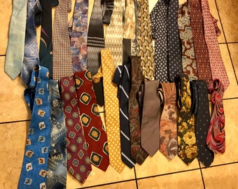 Lot  Assorted Men's Ties Crafting + Quilting