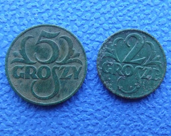 Poland Polski Grosz Grosh Gross Groszy. 5 Groszy 1937. 2 Groszy 1925