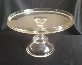 EAPG Victorian Vaseline Glass Cake Stand, Pedestal Glass Bake Shop Salver with a Rum/Icing Rim c. 1880s