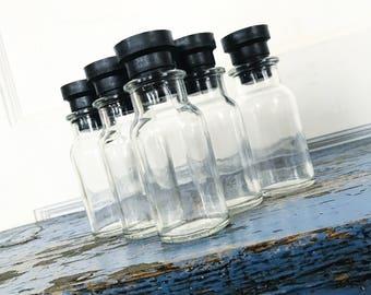 Vintage Glass Bottle Japan Black Plastic Stopper Set of Five