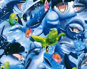 Timeless Treasures Underwater Selfies Ocean Underwater Selfies Fabric - 1 yard -