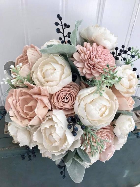 Sola flower bouquet blush pink sola wood flower wedding