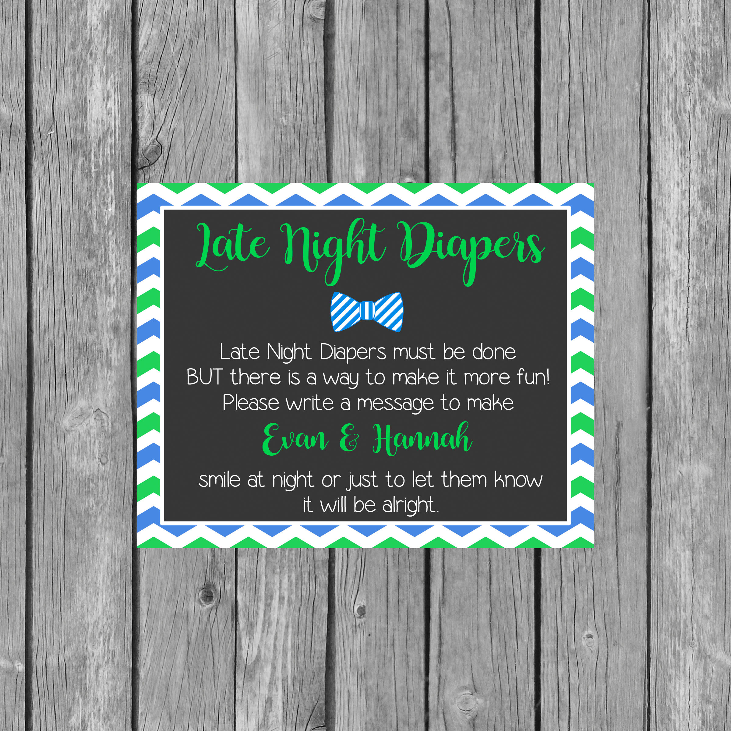 Boy Late Night Diapers Baby Shower Sign Diaper Thoughts