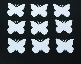 "Set of 50 WHITE cardstock paper BUTTERFLY die cuts/ size 2""x 1.75"""