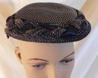 Vintage Fascinator Black And Silver Mini Hat 1960s Vintage Hat