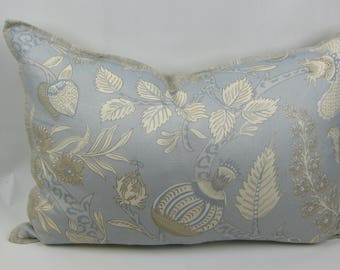 "The Sommers Collection, Lumbar Pillow made with Thibaut ""MacBeth""Aqua Blue, Gray and Cream. 100% Linen. Floral, Botanical Design"