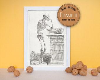 "Vintage illustration of a skeletal figure - framed fine art print, art of anatomy, 8""x12"" ; 11""x14"", FREE SHIPPING - 153"