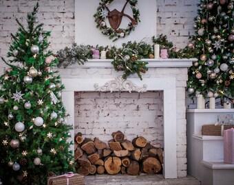 Christmas interior vinyl photography backdrop,christmas holiday dector vinyl photoshoot background,children family studio photodropXT-6160