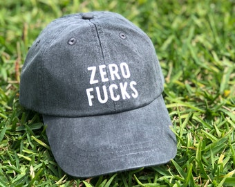 Zero Fucks Hat | No Fucks Given | Drinking Hat | Dad Hat for Women | Funny Drinking Hat | Mom Hat | Women's Hat | Classic Dad Hat
