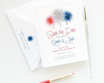 Fourth of July Wedding Save the Dates, 175 July 4th Wedding Save the Date, Fireworks Illustration