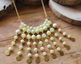 Yellow Jade Beaded Necklace
