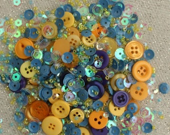 28 Lilac Lane Decorative Embellishments-Buttons, Seed Beads and Sequins-Sunflower Sky Shaker Mix Cube