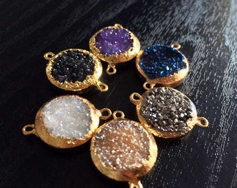 SALE Druzy Connector Mystic Druzy Link Charm 16mm Round Titanium Double Bail Connector Pendant with Gold Electroplated Edges (S8W2-02)