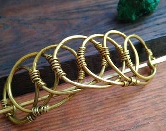 Brass Hair slide, Hair Clip, Adjustable Hair pin, color Gold, Hair Barrette, hair accessories, Ponytail holder for thick hair