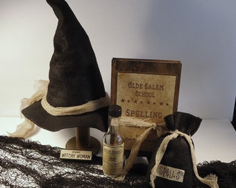 Witch hat with spell bag spell book, spell bottle, haunted, wicca, party decor, photo props, Halloween Decor